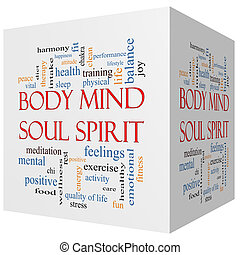 Body Mind Soul Spirit 3D cube Word Cloud Concept with great...