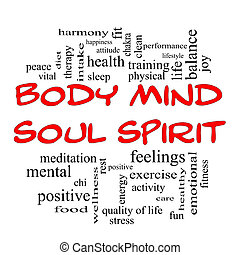 Body Mind Soul Spirit Word Cloud Concept in red caps