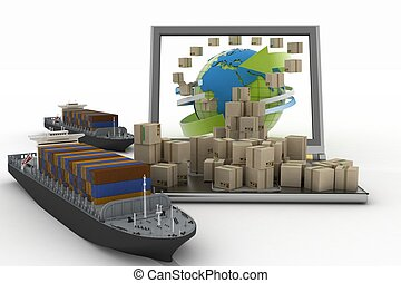 Cardboard boxes around globe on laptop screen and two cargo...