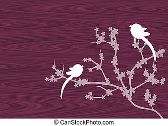 Cherry blossoms on wood - Cherry blossoms and birds on the...