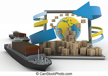 boxes, laptop and two cargo ships - Cardboard boxes around...