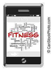 touchscreen, begrepp, ord, ringa,  fitness, moln