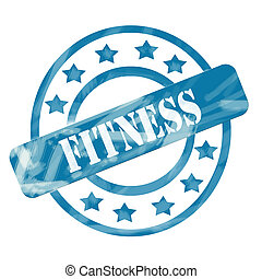Blue Weathered Fitness Stamp Circles and Stars