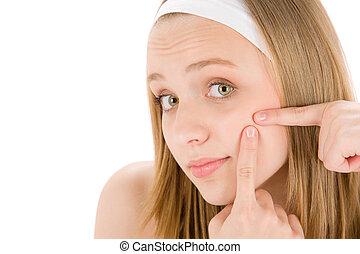 acné, facial, cuidado, Adolescente, mujer, Apretar,...