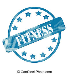 Blue Weathered Fitness Stamp Circle and Stars