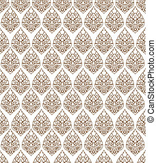 Line Thai art pattern vector - Artistic of traditional line...