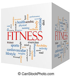 Fitness 3D cube Word Cloud Concept with great terms such as...