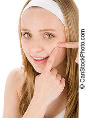mujer,  acné, Apretar, Adolescente,  facial, Grano, cuidado