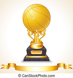 Golden Basketball Cup - Golden Basketball Trophy Vector...