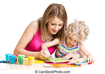 Mother and kid painting together