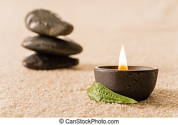 Spa still life candle with zen stones - Spa still life...