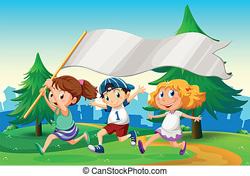 Three kids running with an empty flag banner - Illustration...