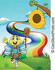 A happy bee at the hilltop with a rainbow - Illustration of...