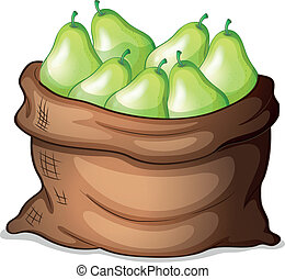 A sack of green avocado - Illustration of a sack of green...