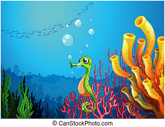 A seahorse near the coral reefs - Illustration of a seahorse...