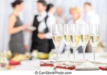 aperitivo, champaña, reunión, participantes