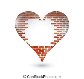brick wall hole on a heart illustration design over a white...