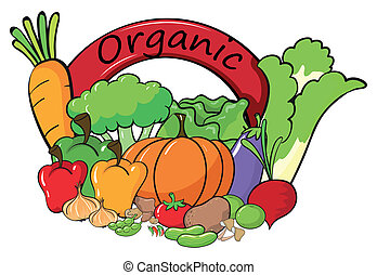 An organic label with vegetables - Illustration of an...