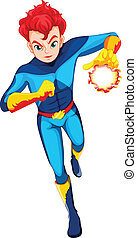 A superhero with a flaming power - Illustration of a...