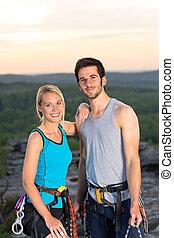 夫婦, 傍晚, 岩石, 活躍, 攀登, 頂部