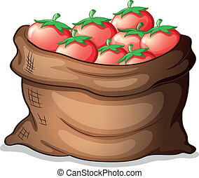 A sack of tomatoes - Illustration of a sack of tomatoes on a...