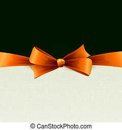 Vector orange gift bows with ribbons. Vector illustration....