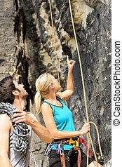 指, 人們, 向上, 看, 岩石, 攀登