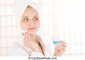 mujer,  facial,  acné, Adolescente, limpio, piel, cuidado