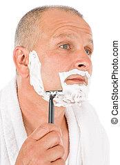 macho, cosméticos, -, maduras, homem, raspar, seu,...
