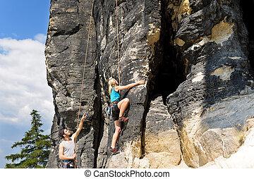 岩石, 攀登, 男性, 教師, 白膚金發碧眼的人,...
