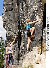 婦女, 陽光普照, 白膚金發碧眼的人, 岩石, 攀登, 教師, 男性