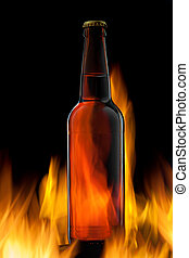 Beer bottle in fire on black