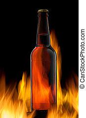 cerveza, botella, fuego, negro