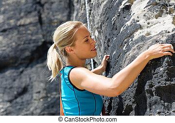 繩子, 攀登, 婦女, 白膚金發碧眼的人, 岩石