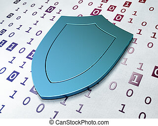 Safety concept:  Shield on Binary Code background