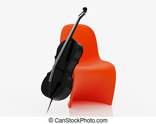 black cello - High resolution image cello 3d illustration...