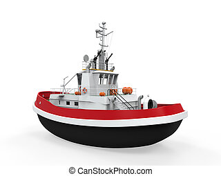Tugboat Isolated on white background 3D render