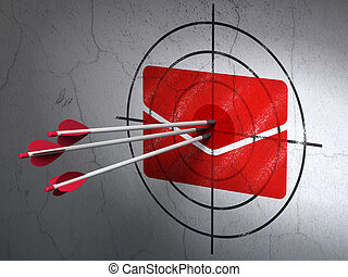 Finance concept: arrows in Email target on wall background -...