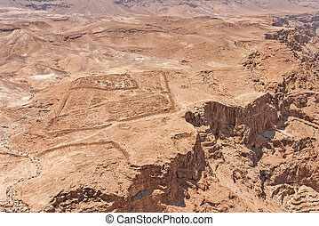 Masada in Israel - View over the ancient Roman camp in the...