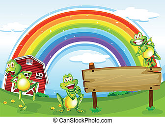 An empty wooden board with frogs and a rainbow in the sky