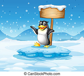 An iceberg with a penguin and an empty wooden signboard -...