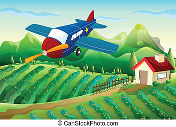 An airplane above the farm - Illustration of an airplane...