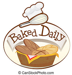 A baked daily label with a basket of breads - Illustration...