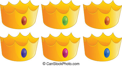 Six golden crowns - Illustration of the six golden crowns on...