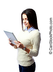 Young happy businesswoman using tablet computer isolated on a white background
