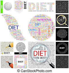 Diet. Concept illustration. - Diet. Word cloud illustration....