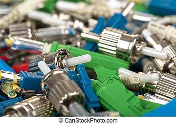 Fiber optic connectors - closeup of various types of fiber...