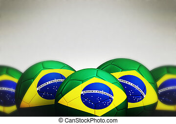Soccer ball with Brazil flag on gray background, 3d render.