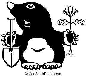 cartoon mole holding flower and shovel, black and white...