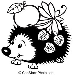 cartoon hedgehog - cartoon hedgehog, black and white picture...